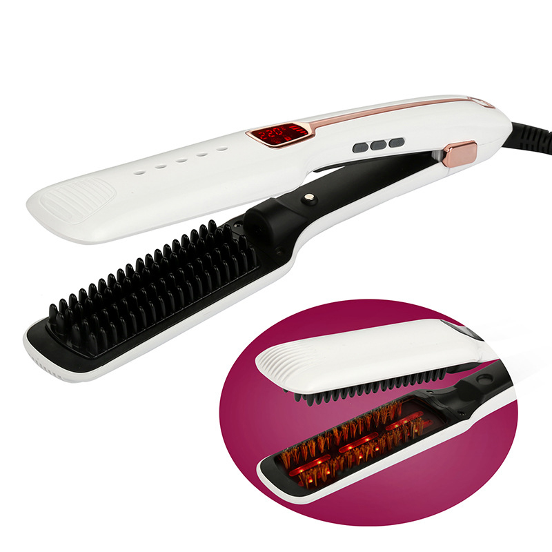 LCD Professional Steam hair brush fast Hair Straightener Electric ionic Comb Spray Vapor infrared Flat Iron Styling Tools 445f lcd digital hair flat iron ceramic mch fast heating hair straightener high end professional hair styling tools