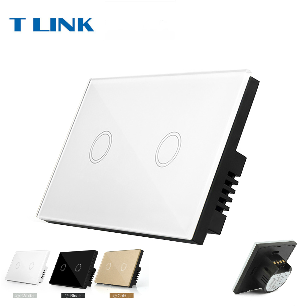 TLINK US Standard 2 gang lamp wall touch switch with electric control tempering glass panel smart home us black 1 gang touch switch screen wireless remote control wall light touch switch control with crystal glass panel
