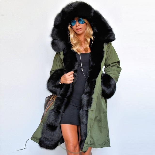 Mujeres de lujo 2016 de Invierno Faux Fur Coat Parka Con Capucha de Las Señoras Ocasionales Sudaderas Con Capucha Larga Chaqueta Outwear chaquetas mujer