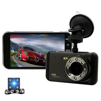 "Dash Cam New Dual Lens Car DVR Camera Full HD 1296P 4"" IPS Night Vision Video Recorder Parking Monitor ADAS Safe Reminder"
