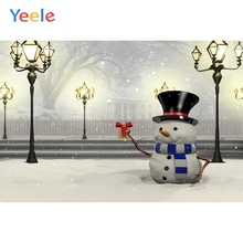 Yeele Christmas Party Photocall Snowman Castle Fog Photography Backdrops Personalized Photographic Backgrounds For Photo Studio