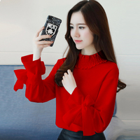 2018 summer women chiffon blouse ruffles bow sleeved soft solid slim shirts red clothing tops