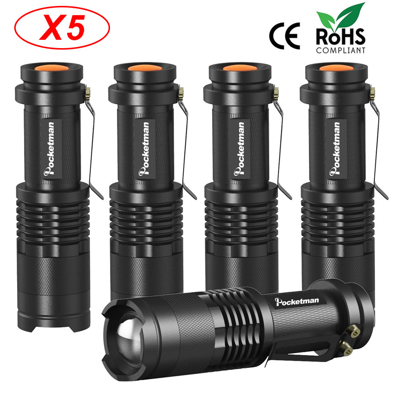 5pcs/lot LED flashlight 3800 Lumens CREE Q5 Zoomable 3 Modes aluminum Lanterna LED Torch Flashlights Adjustable Focus Flash lamp