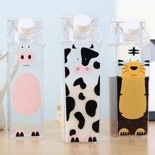 ФОТО Cartoon Adorable Pet Paradise Transparent Milk Box Plastic Cup Men and Women Students Portable Large Capacity Leak Proof Bottle