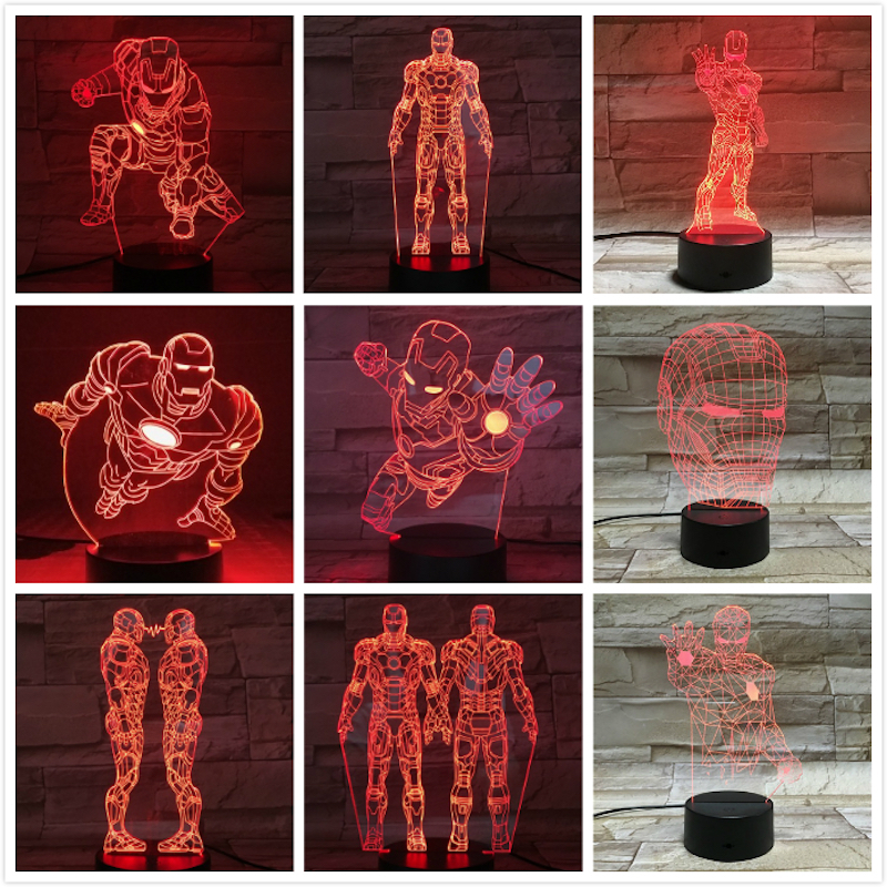 Lights & Lighting Led Lamps 3d Led Night Light Lamp Marvel Iron Man Figure Home Decoration Bright Base Touch Sensor Cool Baby Kids Child Nightlight Ironman