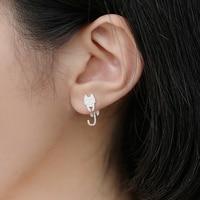 New 3D Animal 100 925 Sterling Silver Cartoon Cute Sweet Cat Fish Stud Earrings High Quality