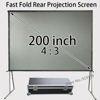 Большой проекционный Экран 200 дюйма 4 на 3 формат быстро складной Экраны с квадратной трубы Алюминий Рамки