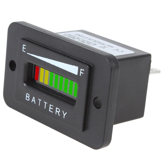 12/24V 36V 48V  Keyswitch Display Three-color 10-Bar LED Battery Indicator Meter Charge Indicator