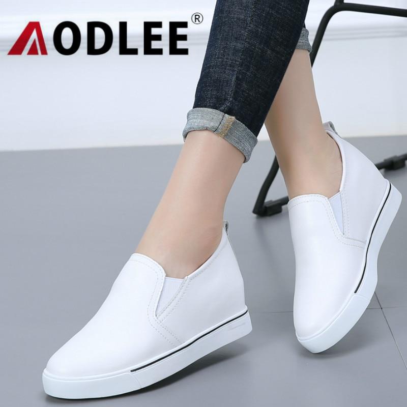 Aodlee 2018 Erhöhen Schuhe Frauen Wohnungen Plattform Schuhe Patent Leder Slip Auf Creeper Frau Müßiggänger Tenis Feminino Damen Schuhe Halten Sie Die Ganze Zeit Fit