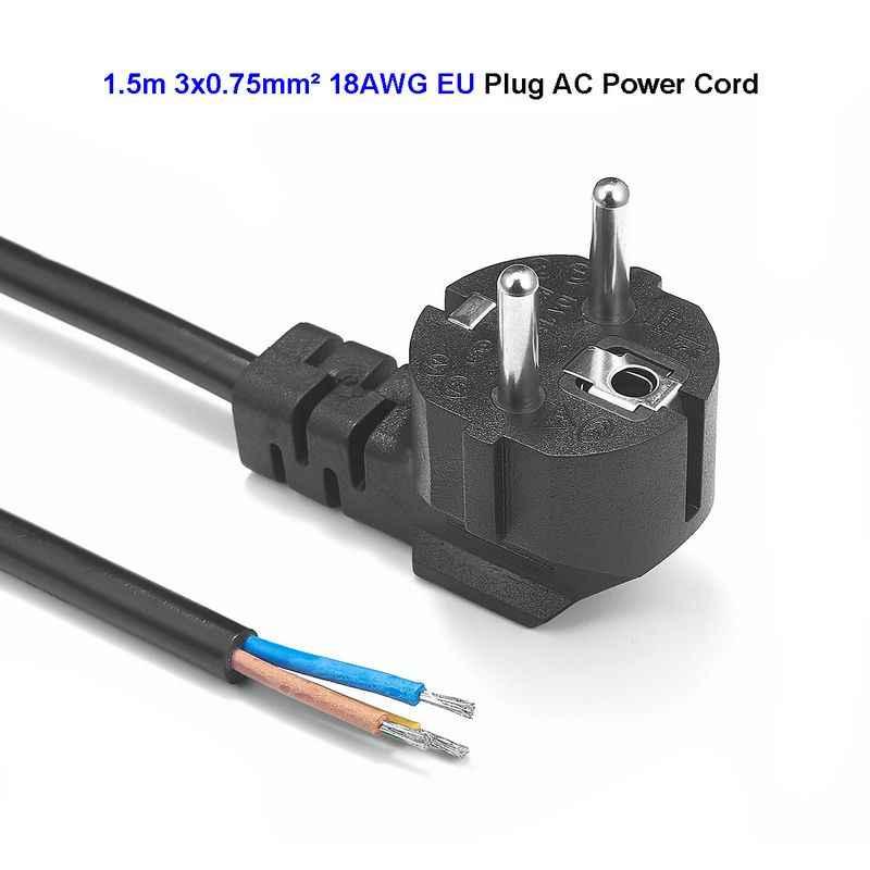 Ue wtyczka europejska przedłużacz kabla 2 Prong moc kabel zasilający 1.5 m 18AWG do gniazdka elektryczne LED reflektor lampa światła