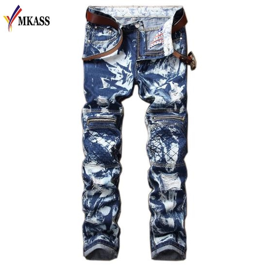 Mens Blue Biker Jeans For Men Denim Skinny Jeans Mens Slim Straight Patchwork Jean Male Brand Rivets Moto Jeans Hombre Plus 42