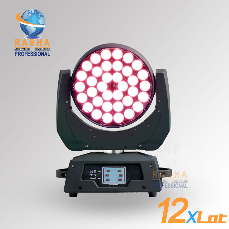 12pcs/LOT Hot Sale 36*15W 5in1 RGBAW Zoom LED Moving Head Wash With Touch Screen LCD Display,Powercon DMX In&OUT,Stage Light