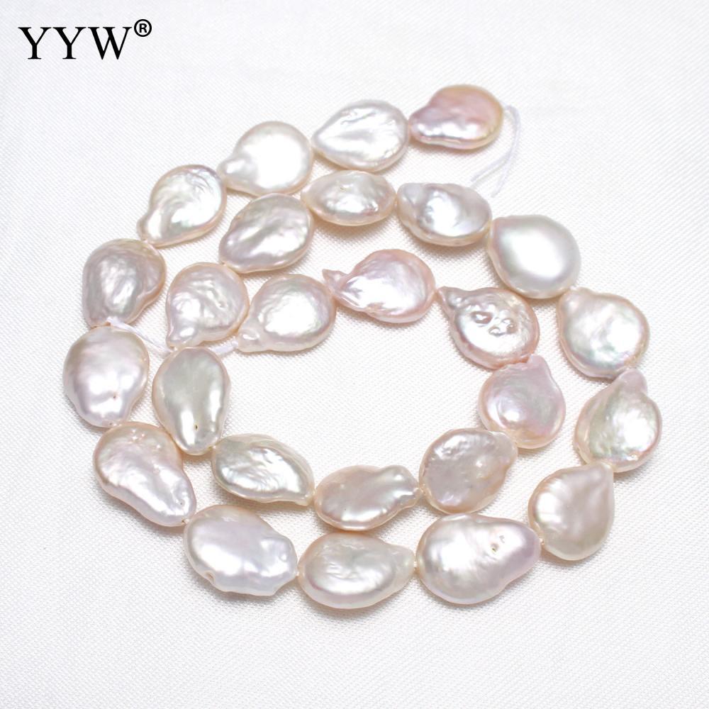 YYW perles de perles d'eau douce baroques de culture de haute qualité blanc naturel 11-12mm environ 0.8mm vendu par brin pour la fabrication de bijoux