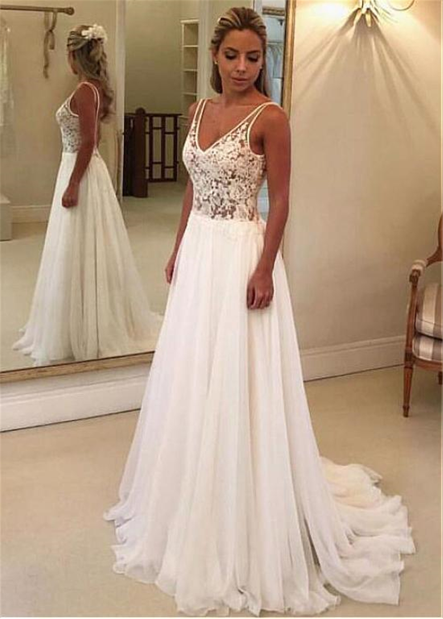 Fantastic V-neck Neckline A-line Wedding Dresses With Lace Appliques See Through Open Back Bridal Dress vestido de festa curto