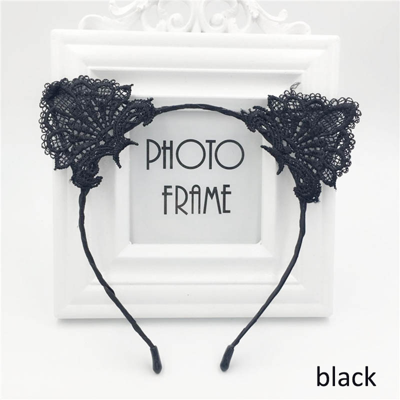 Cute <font><b>Cat</b></font> Ears Hair Bands For Women Bunny Ears Headband <font><b>Sexy</b></font> Lace Hairband Baby Birthday Party Headdress Girl Hair <font><b>Accessories</b></font> image