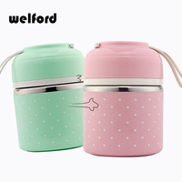 Welford Portable Cute Mini Japanese Bento Box Leak Proof Stainless Steel Thermal Lunch Boxs Kids Picnic