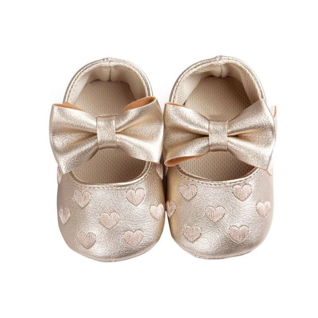 PU Leather Candy color Bbay shoes Newborn Baby Girls Princess Heart-Shape Big Bow Prewalkers Soft Bottom Shoes