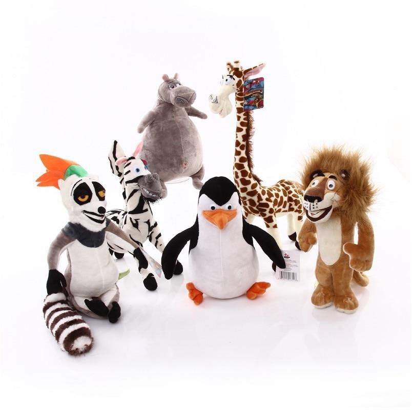 6 pièces/ensemble 35cm Madagascar peluche jouets Madagascar Lion girafe pingouin zèbre Hippo peluche poupée modèle mignon cadeau pour enfants bébé jouet