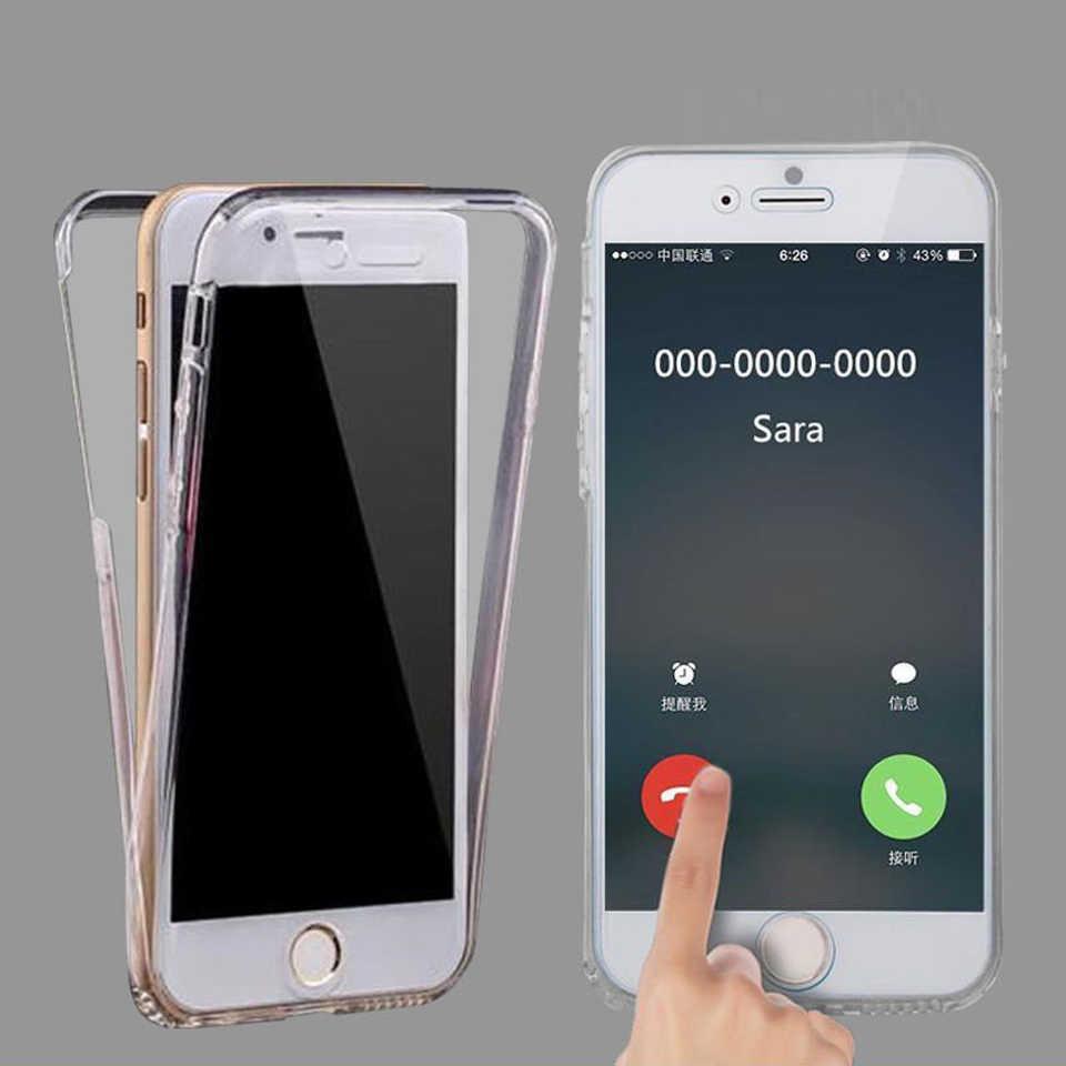 360 Cheio de Silicone Caso Claro Para O iphone 7 Mais SE 5S 6 8 X XR XS MAX Huawei P30 6 s pro Lite P20 P10 Companheiro 20 10 Casos Tampa Do Telefone