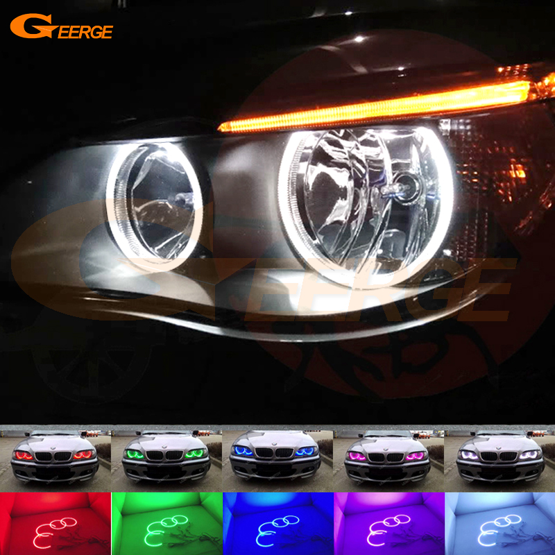 For BMW E60 E61 520i 525I 530I 540I 545I 550I M5 2003-2007 Halogen headlight Multi-Color Ultra bright RGB LED Angel Eyes kit for bmw e60 e61 lci 525i 528i 530i 535i 545i 550i m5 xenon headlight excellent drl ultra bright smd led angel eyes kit