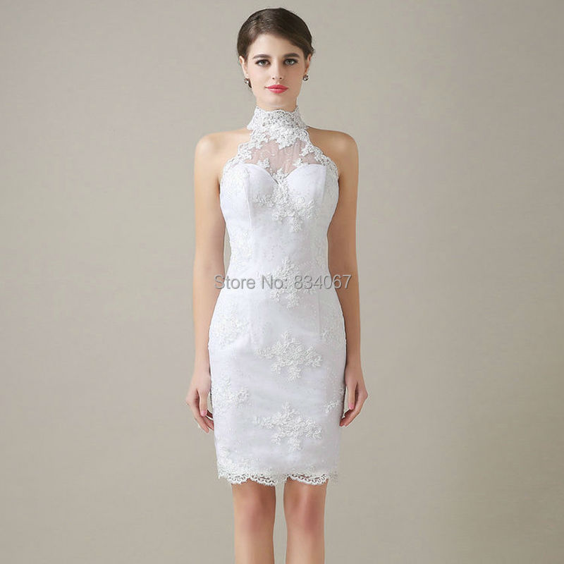 Real Photos White Lace Short Wedding Dress 2017 Sheath Mini Bridal Gowns Vestidos De Noiva Casamento For Party In Dresses From