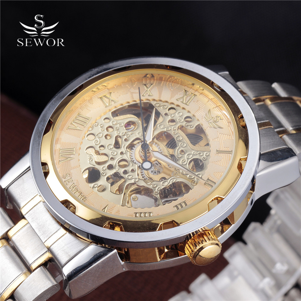 SEWOR Luxury Military Watch Men Stainless Steel Bracelet Clock Gold Roman Mechanical Hand Wind Movement Skeleton Sports Watches ks black skeleton gun tone roman hollow mechanical pocket watch men vintage hand wind clock fobs watches long chain gift ksp069