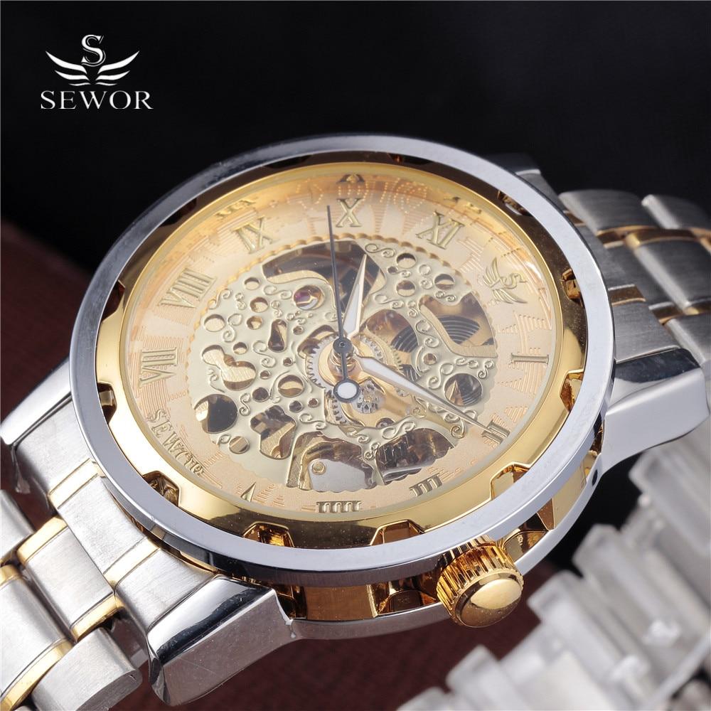 SEWOR Luxury Military Watch font b Men b font Stainless Steel Bracelet Clock Gold Roman font
