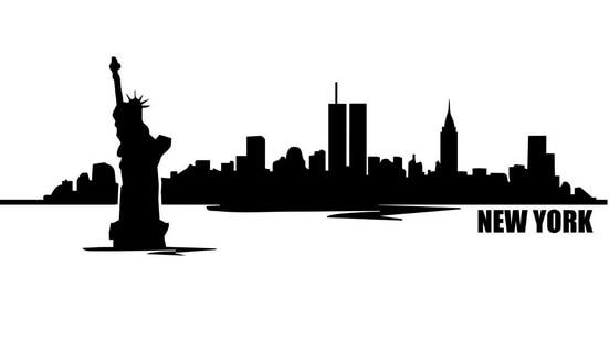 Nieuwe Collectie Nieuwe York Skyline Vinyl Muurtattoo Stad