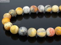 Natural Matte Crazy Lace Ag-ate 4mm Frosted Gems stones Round Ball Loose Spacer Beads 15''   5 Strands/ Pack