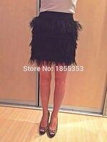 Sales van hoogwaardige een stuk sexy lady natuurlijke zwarte struisvogelveren rok bruiloft decoratie