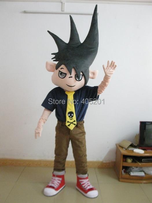 Erect hair boy mascot costumes Scary game cartoon