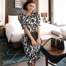 Women Office Lady Dresses  Bodycon Short Sleeve 2019 Summer Slim Vinta