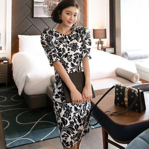 Women Office Lady Dresses  Bodycon Short Sleeve 2019 Summer Slim Vintage Elegant Dress Pakistan