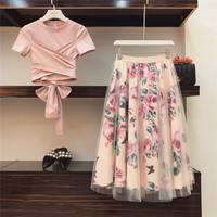 HAMALIEL Summer Women Overlapping Pink Back Bowknot Short Cotton T Shirt Skirt Suits + Mesh Print Floral Skirt Sets For Woman