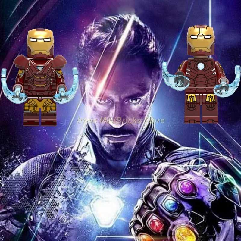 Avengers Marvel Homem De Ferro Mark 1 Tony Thanos Pepper Potts Hulk Thor Homem Aranha Capitão América Building Blocks Brinquedos Para Crianças