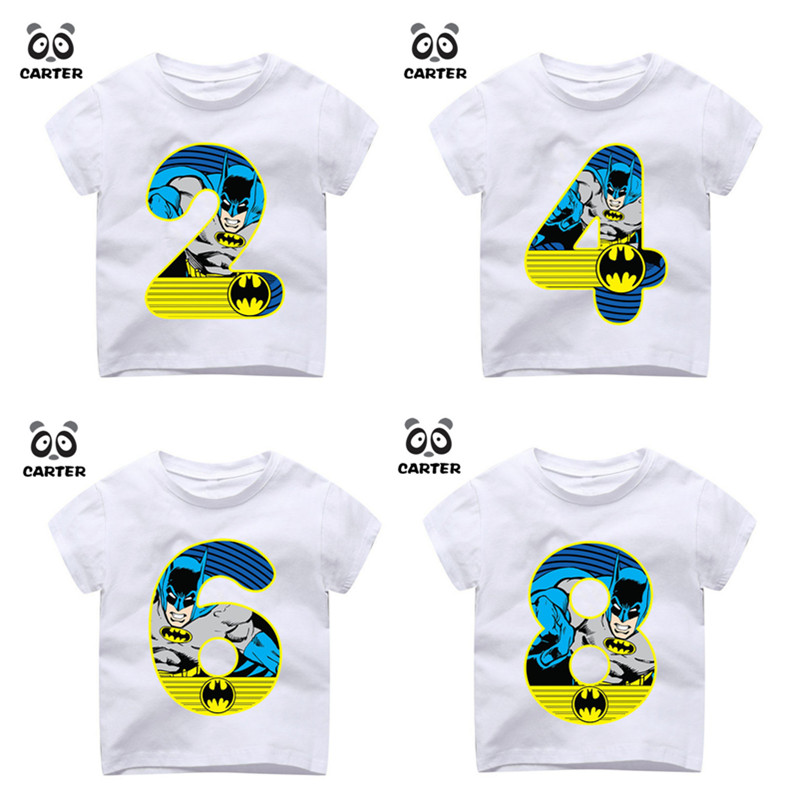 Kid's Happy Birthday Number 1~9th Batman Number Print T-shirts Boy and Girl Superhero Tshirt Baby Summer Top Children Clothes xmas white tank top 6th sparkle red birthday number print red snowflakes ruffles