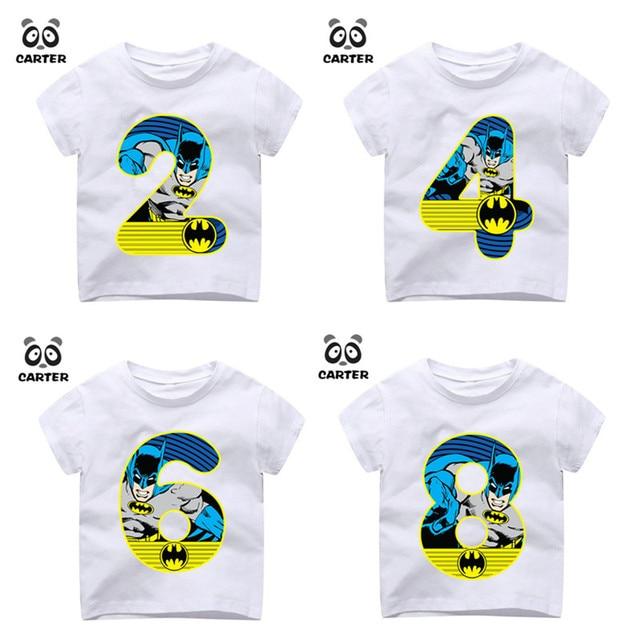 74148603a Niños Feliz cumpleaños número 1 9th Batman número imprimir camisetas niño y  niña superhéroe camiseta bebé