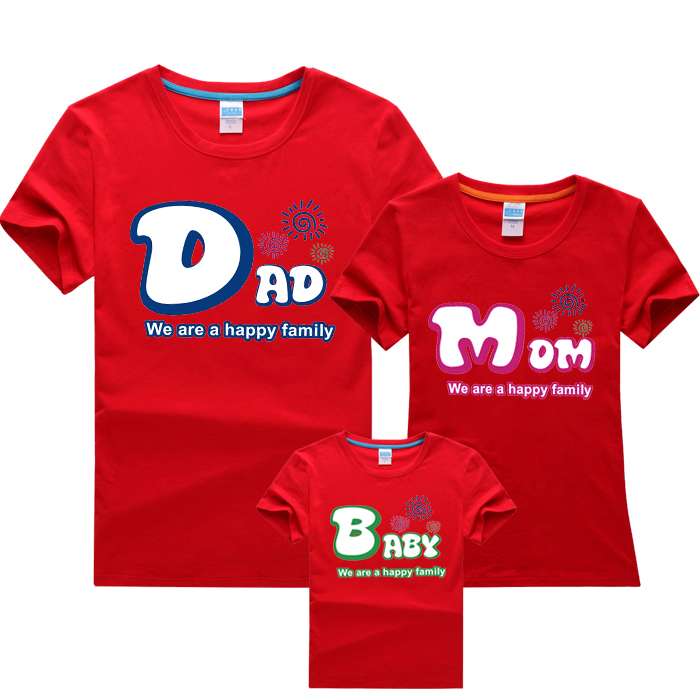 Parent Child Dad Mom Baby Short Sleeved T Shirt Sweet