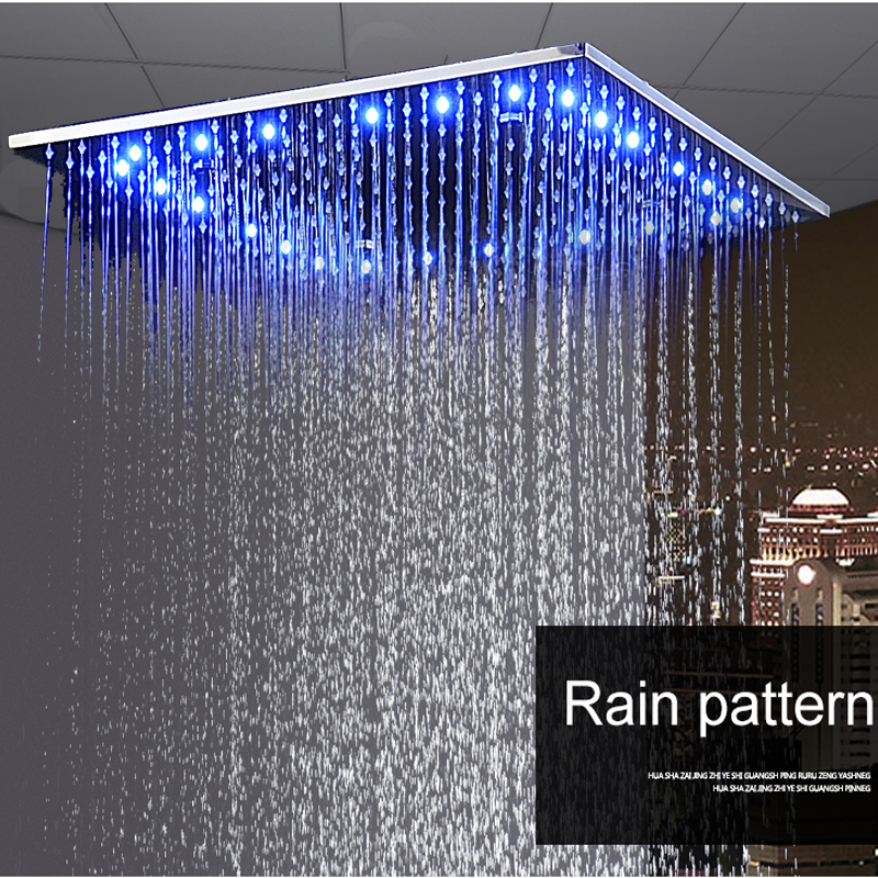 20 Inch Rain Shower Head.Us 404 8 45 Off Luxury Ceiling Square Showerhead 20 Inch Led Rainfall Shower Panel Mist Sap Quality Shower Bath 304 Stainless Steel Polished In