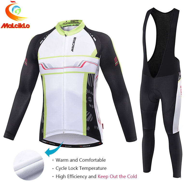Malciklo 2017 Long Set Maillot Ropa Ciclismo Pro Fabric Cycling Suit Winter Thermal Jersey Bike Bicycle