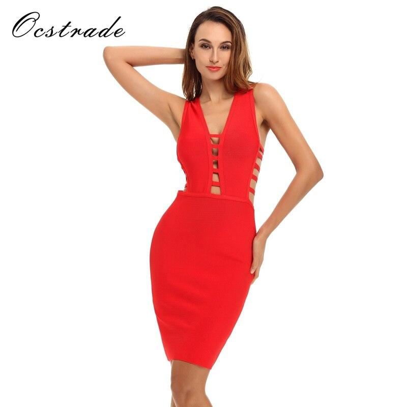 945dfbff Cheap Ocstrade Sexy vendaje vestido 2017 nueva moda Primavera Verano  mujeres elegante rojo vendaje vestidos cuello