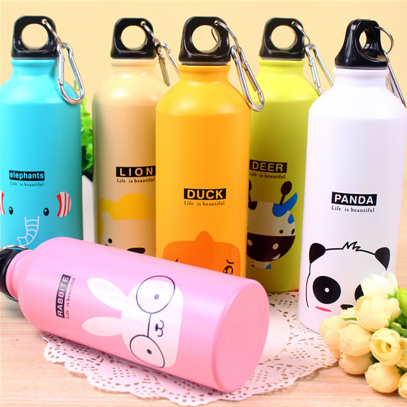 Cycling Camping Outdoor Sports 1PC New Water Bottle Portable Aluminum Alloy 500ml Drinkware Modern Design Cartoon Animals