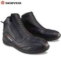 2016 New Authentic SCOYCO motorcycle racing boots warm leather boot knight riding off-road race shoes black color size 40-45