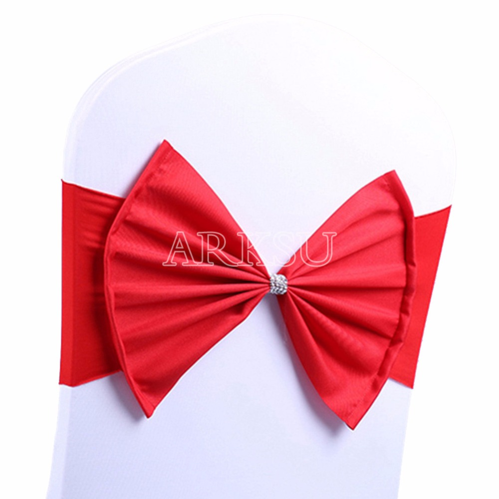 50 Pcs/Lot wedding chair sash tie bow acrylic chair cover band ...