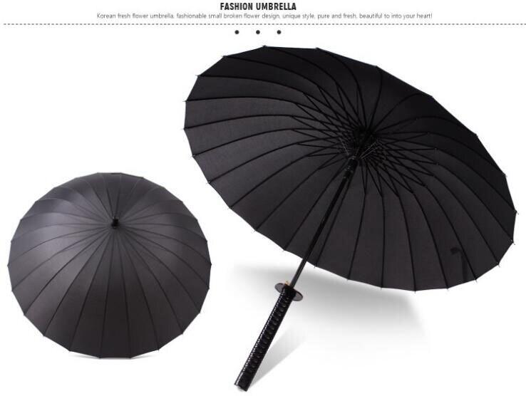 Parapluie à Long manche homme et femme épée droite parapluie japonais samouraï parapluie 24 os cadeau parapluie