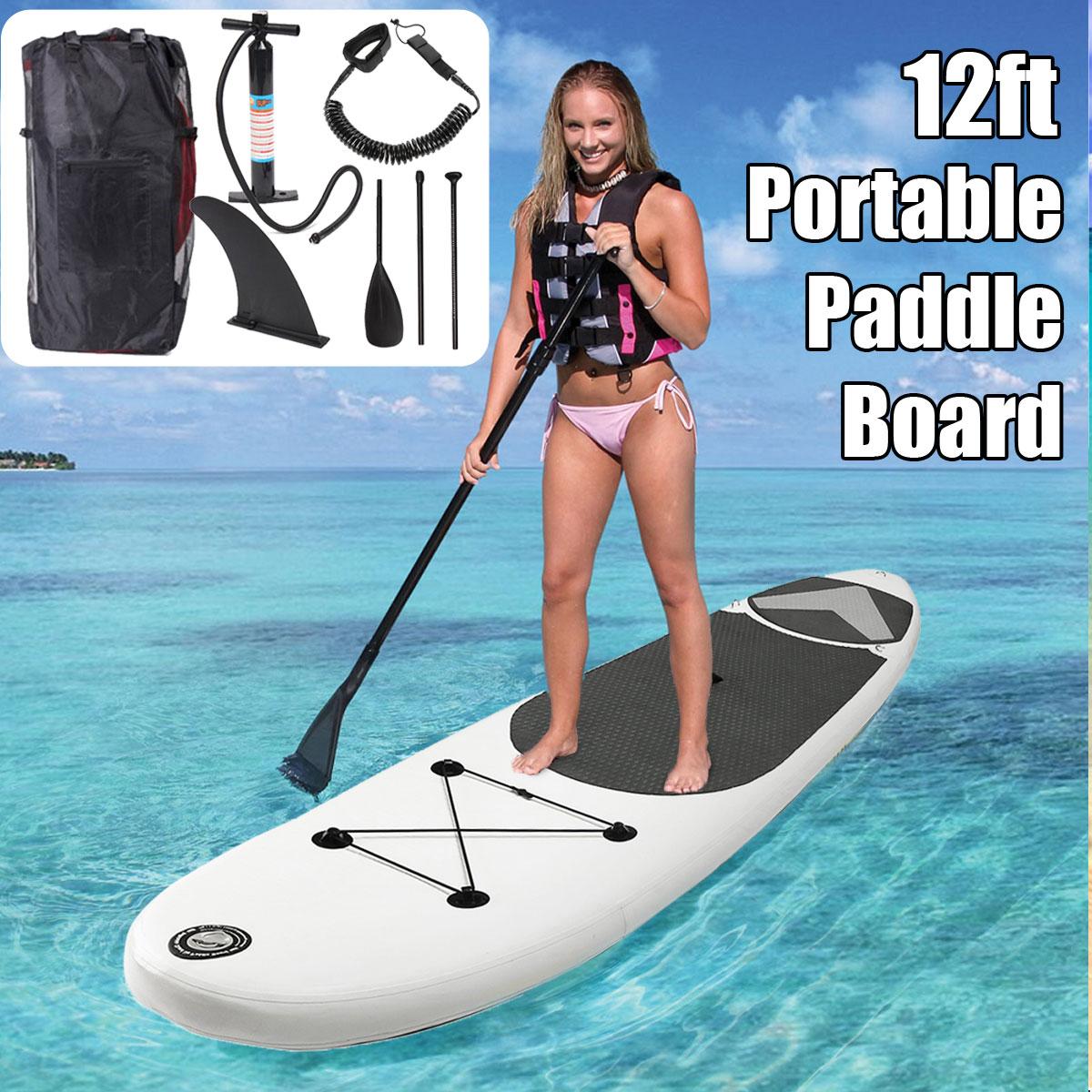 SGODDE 365*83*15 cm 12ft Portable Gonflable Surf Aileron Planche de Surf Stand Up Paddle Board - 2