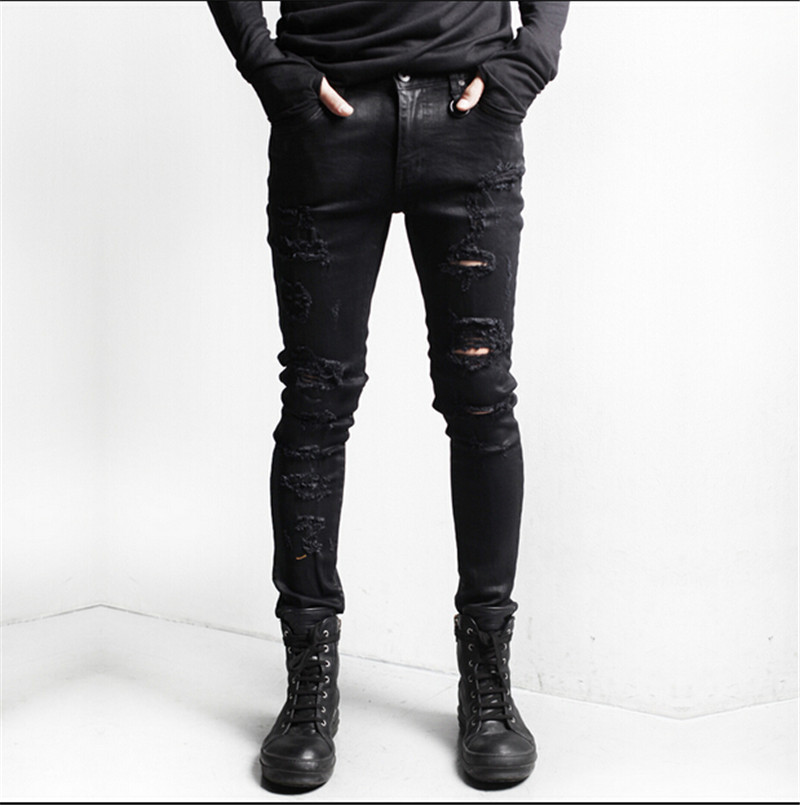 Mens black skinny jeans with rips – Global fashion jeans models