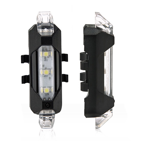 5LED Bicycle Rear Tail Lights Flash USB Rechargeable Bike Safety Lamp Waterproof, Black+White