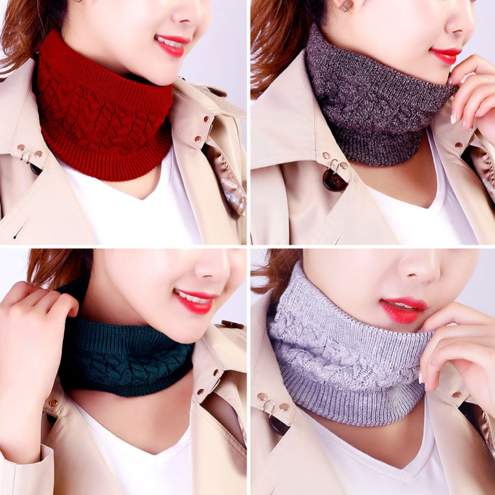 Warm  Unisex  Collar  Women Scarf  Solid Color Knitted Scarf  Thick Neck Ring