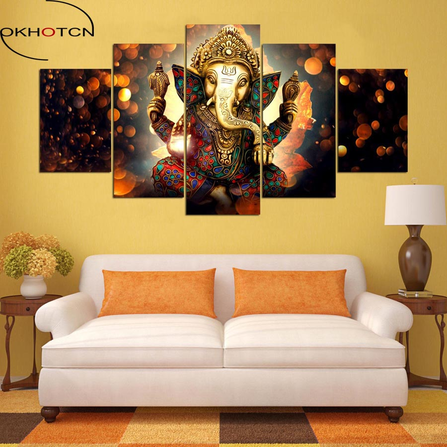 OKHOTCN Canvas Painting Wall Art Home Decor For Living Room HD Prints 5  Pieces Elephant Trunk God Modular Poster Ganesha Picture